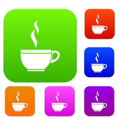 glass cup of tea set collection vector image