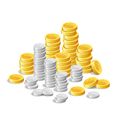 gold coins and silver coins money cash finance vector image