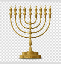 Gold colored hanukkah menorah nine-branched vector