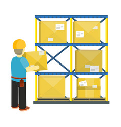 Goods receiving and stocking concept in flat style vector