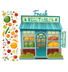 Grocery shop facade vector
