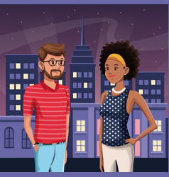 Guy and girl in town - night city buildings with vector