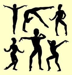 Gymnastic girl silhouette vector