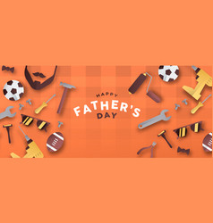 Happy fathers day 3d paper cut dad icon banner vector