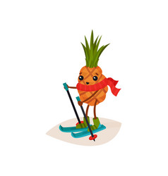 Happy pineapple on skis cartoon character of vector