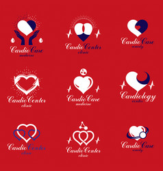 Heart shapes composed using pulsating ecg charts vector
