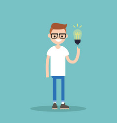 idea concept aha moment young smiling nerd is vector image