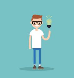 Idea concept aha moment young smiling nerd is vector