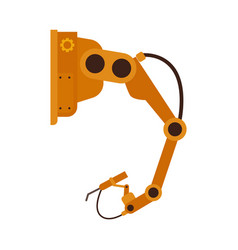 industrial robotic arm in flat style isolated on vector image
