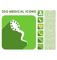 Infectious Microbe Icon and Medical Longshadow vector