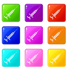 Injector icons set 9 color collection vector