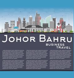 Johor bahru malaysia skyline with gray buildings vector