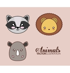 Kawaii lion raccoon and rhino icon vector
