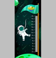 kids space height chart cosmic wall meter vector image