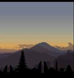 Kintamani bali sunrise with skyline vector