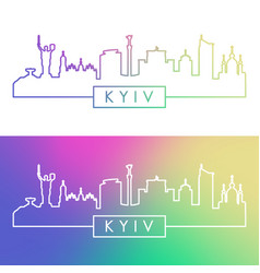 Kyiv skyline colorful linear style editable vector