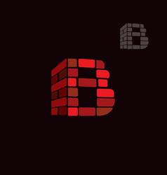 Letter b brick style logo vector