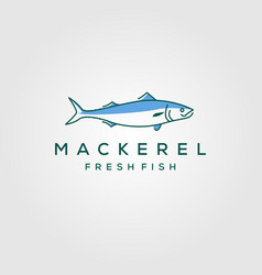 line art fish mackerel logo hipster vintage label vector image