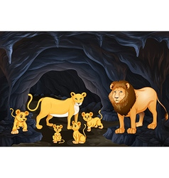 Lion family with four cubs vector