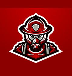 Logo mascot firefighter lethal task a dangerous vector