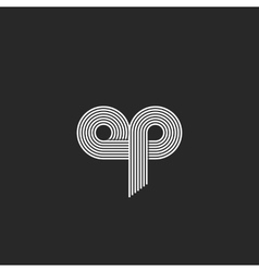 Logo op letters monogram thin line combination o vector