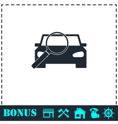 Magnifier car icon flat vector