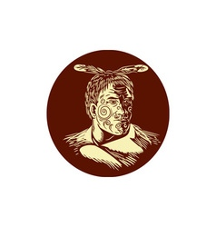 Maori Chieftain Head Oval Woodcut vector