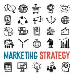 Marketing Strategy Icons Set vector image