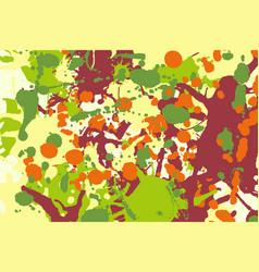 Maroon orange yellow green ink splashes background vector