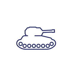 Military tank line icon vector