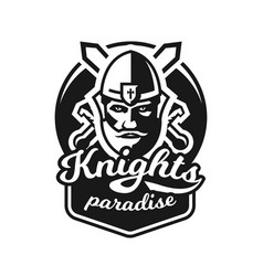 Monochrome logo emblem knight in helmet against vector