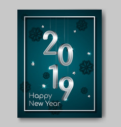 new year night flyer banner with silver 3d numbers vector image