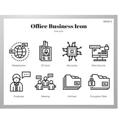 Office business icons line pack vector