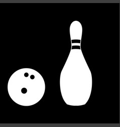 pin and bowling ball white color icon vector image