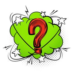 Question mark into speech bubble comic decorative vector