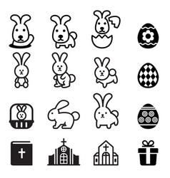 Rabbit bunny easter icon vector