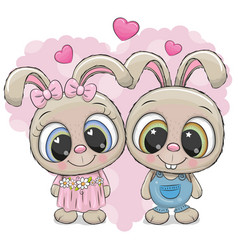 Rabbits boy and girl on a heart background vector