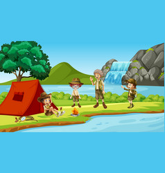 scene with people camping river vector image
