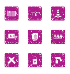 Service document icons set grunge style vector