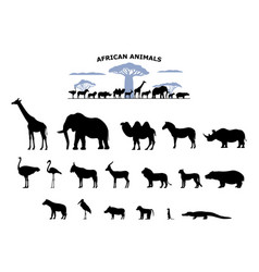 Set black silhouette wild african animals vector