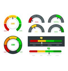 Set displaying credit score gauge vector