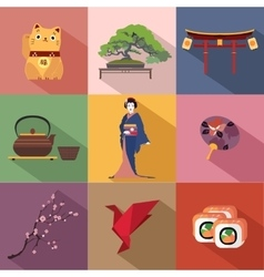 set japan travel colorful flat icons japan vector image