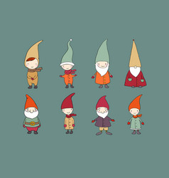 set of cute cartoon gnomes funny elves vector image