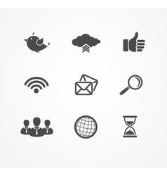 Set of social network icons in black silhouette vector image
