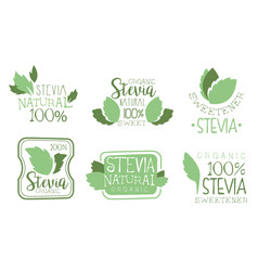 Set stevia logos cartoon vector