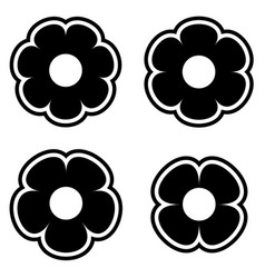 Simple black white flower icon symbol logo set vector