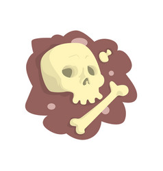 skull and bones lying in ground cartoon vector image
