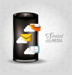 smartphone with social media icons vector image
