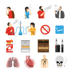 Smoking products risks icons set vector