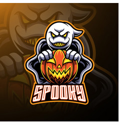 spooky ghost and pumpkin logo mascot designs vector image